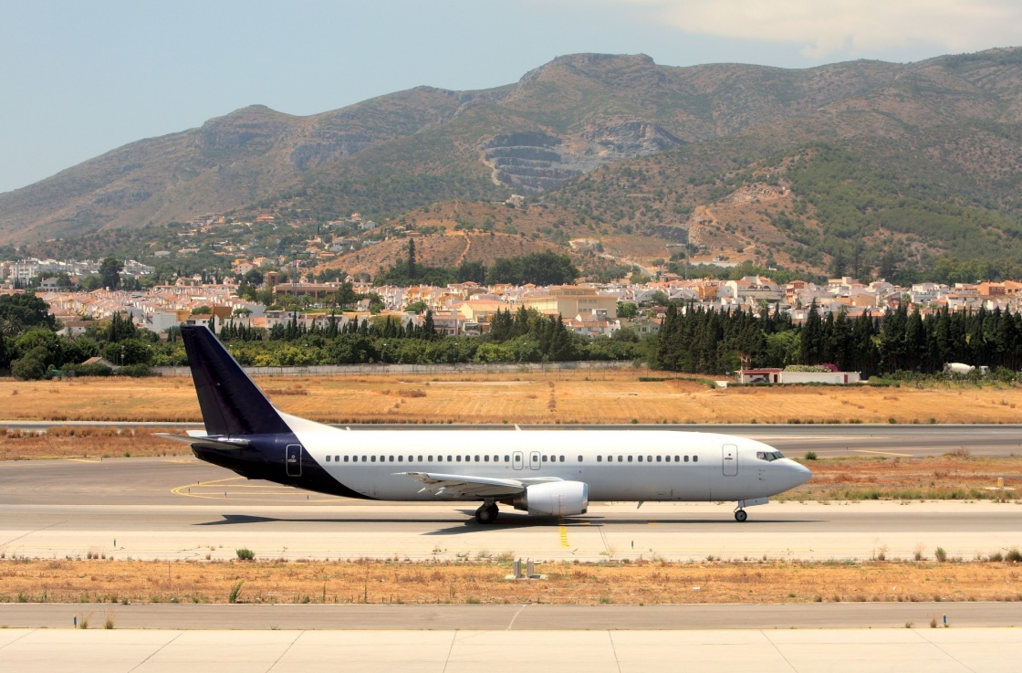 'Large Passenger Airplane on the Runway at Malaga Airport in Spain on the Costa del Sol' - Andalusia