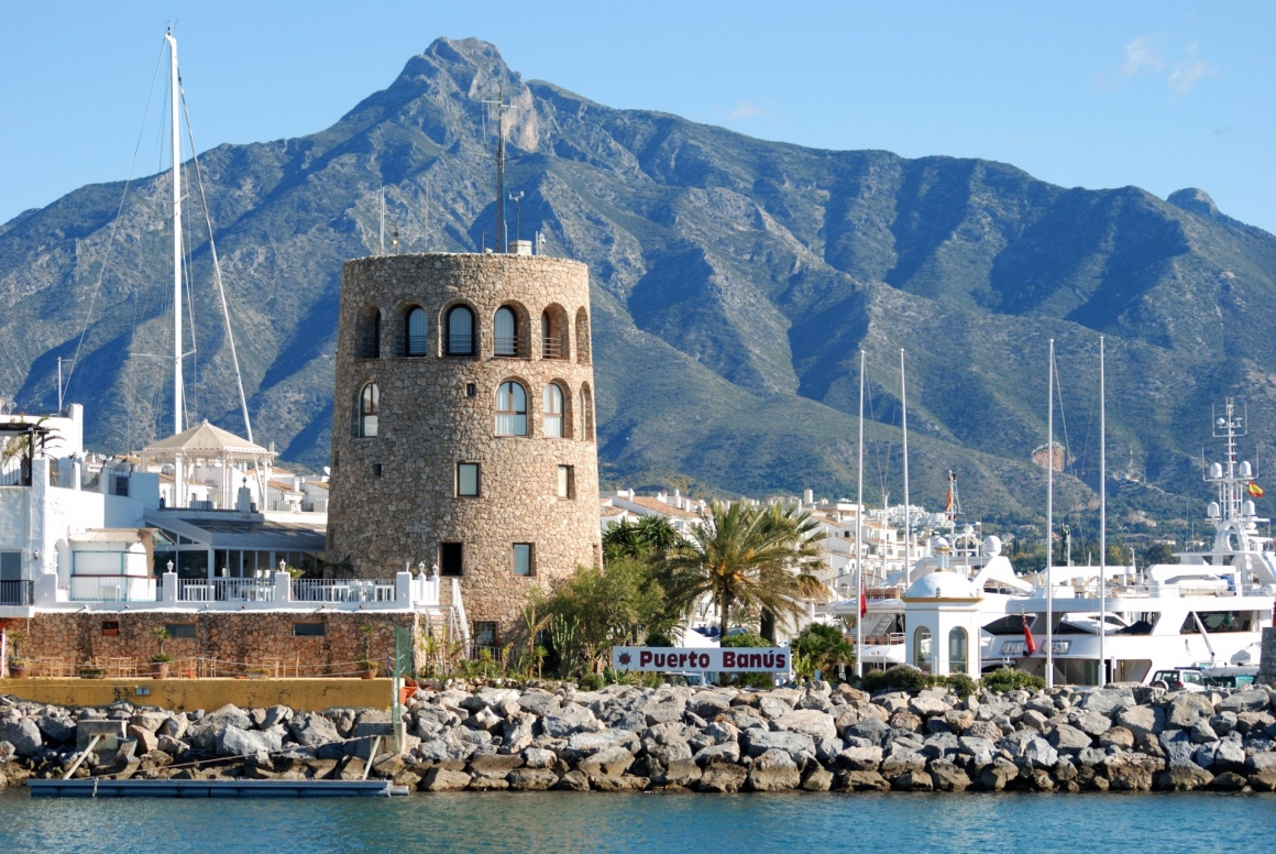 'Harbour entrance with the watchtower to the left and La Concha mountain to the rear, Puerto Banus, Marbella, Costa del Sol, Malaga Province, Andalusia, Spain, Western Europe.' - Andalusia