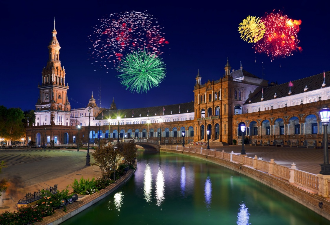 'Fireworks in Sevilla Spain - holiday background' - Andalusia