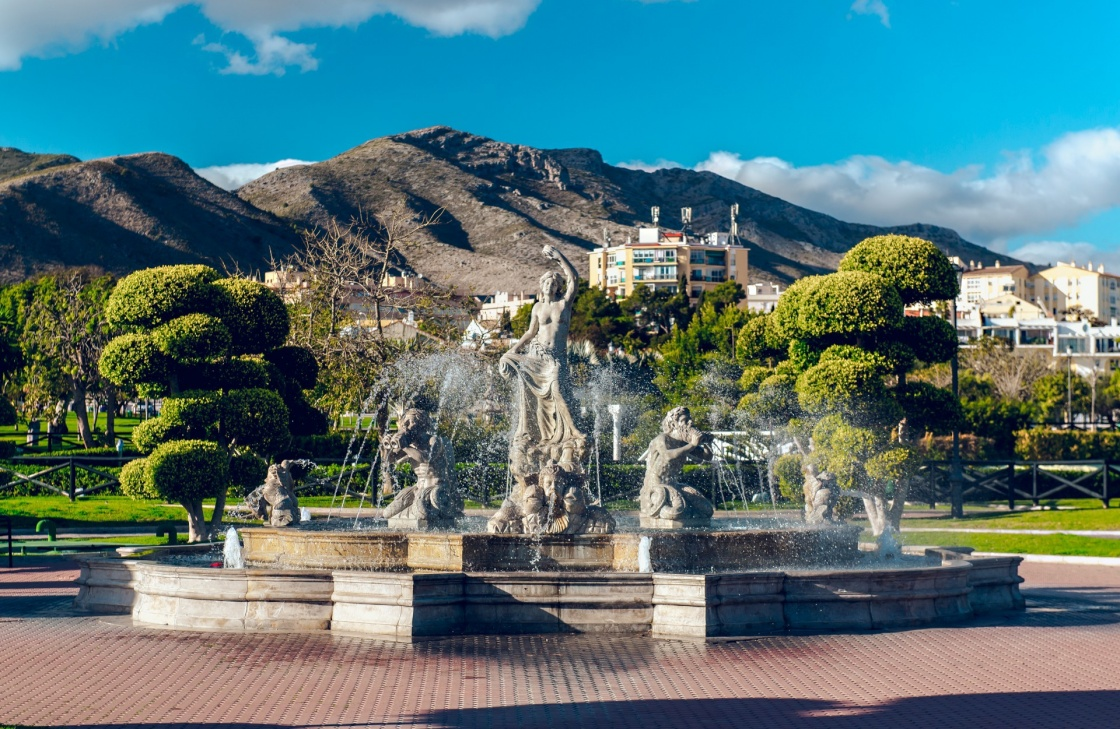 'Beautiful fountain in the Battery Park (Parque La Bateria), Torremolinos. Spain' - Andalusia