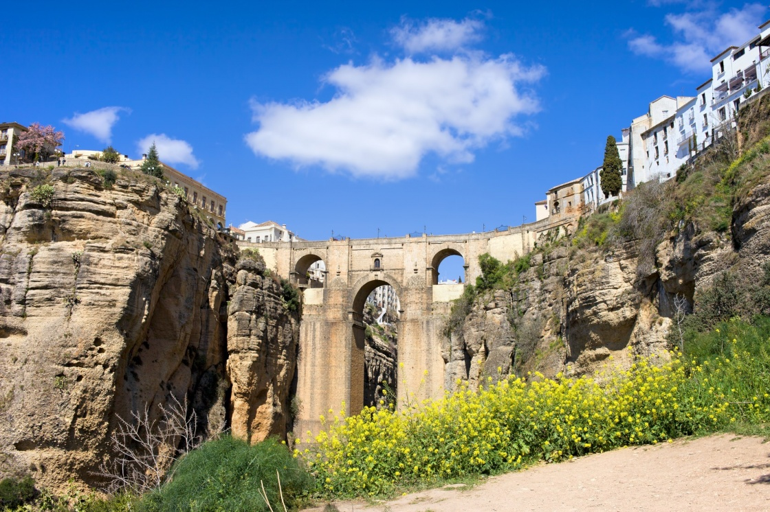 New Bridge (Spanish: Puente Nuevo) from 18th century in Ronda town on high cliffs, Andalusia, Spain.