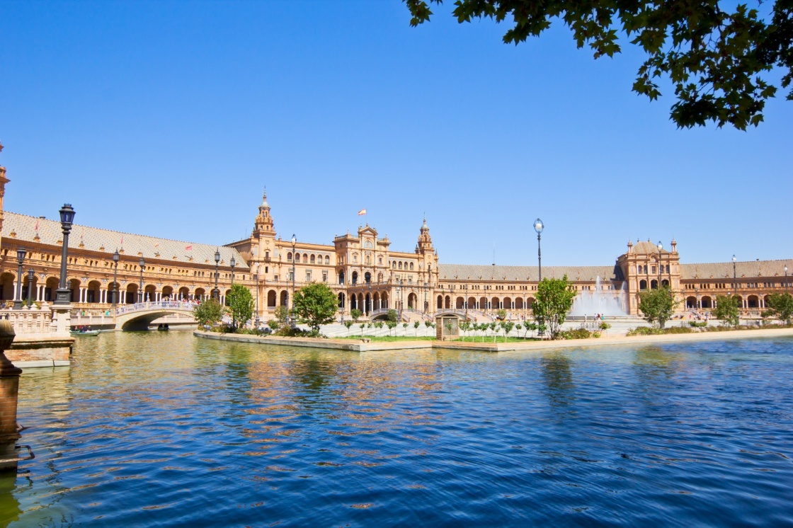 Plaza de Espana (square of Spain) at summer day, in Seville, Spain